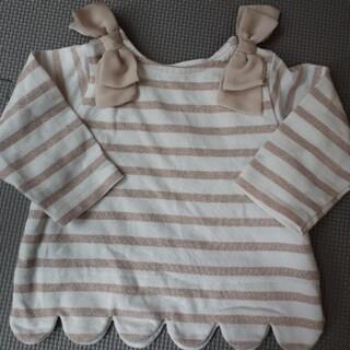 petit main - プティマイン 肩リボン付き裾スカラップ長袖ボーダーTシャツ