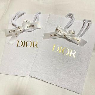 クリスチャンディオール(Christian Dior)のChristian Dior ディオール ロゴ入りリボン付きショッパー2枚♪(ショップ袋)