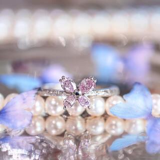 天然ピンクダイヤモンド 蝶々リング