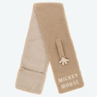 Disney - 新商品 ディズニー ミッキー ベージュ ふわもこ マフラー 手袋