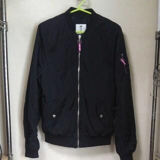 エイチアンドエム(H&M)のH&M MA1風ナイロンブルゾン ジャケット ブラック 165㎝(ジャケット/上着)