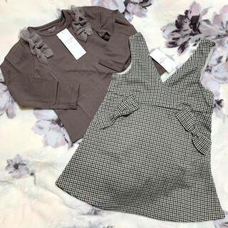 anyFAM - 新品 エニィファムキッズ チュール フリル Tシャツ りぼん ジャンパースカート