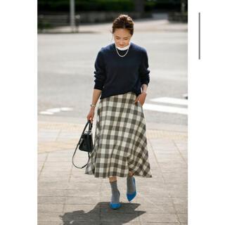 ドゥロワー(Drawer)のbluelea  ブルレア ウールチェックフレアスカート Sサイズ(ロングスカート)