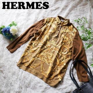 エルメス(Hermes)の【希少品】エルメス HERMES 人気スカーフ柄 シルクカシミヤ混ニットセーター(ニット/セーター)