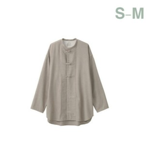 MUJI (無印良品) -  無印良品 両面起毛フランネル結び釦ミドル丈シャツ/男女兼用S~M/ベージュ