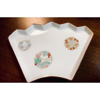 深川製磁  扇型 銘々皿 金彩 縁起花 和菓子皿 2枚