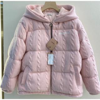 miumiu - MIU MIU ロゴ ダウンジャケット ピンク