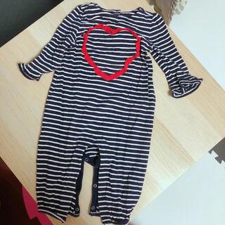 ベビーギャップ(babyGAP)のbaby gap 長袖ロンパース  ハート ボーダー(ロンパース)