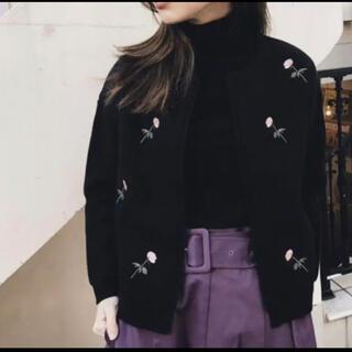 アメリヴィンテージ(Ameri VINTAGE)のアメリ  flower embroidery jacket knit(カーディガン)