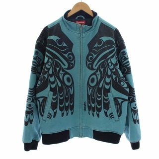 Supreme - シュプリーム マカージップアップジャケット 中綿 裏地キルティング L 水色 黒
