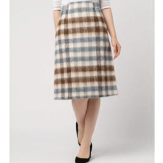 アナイ(ANAYI)のANAYIアナイAラインチェックシャギースカート/ワンピニットモヘアカシミア(ひざ丈スカート)