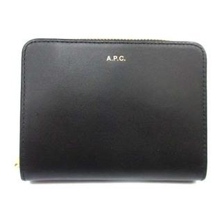 アーペーセー(A.P.C)のアーペーセー 二つ折り財布 ラウンドファスナー レザー 牛革 ゴールド金具 黒(財布)