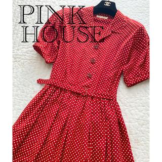 ピンクハウス(PINK HOUSE)のピンクハウス ワンピース  ドット 赤(ひざ丈ワンピース)