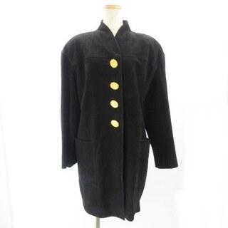 クリスチャンディオール(Christian Dior)のクリスチャンディオール コート 金ボタン ラムレザー 9 黒 ■WY(その他)
