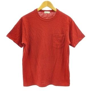 ウエアハウス(WAREHOUSE)のウエアハウス 美品 ポケットTシャツ 半袖 丸胴 カットソー レッド S 36(Tシャツ/カットソー(半袖/袖なし))