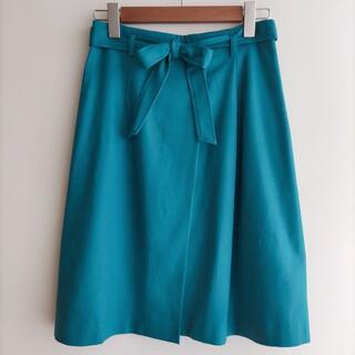 アナイ(ANAYI)のANAYI ひざ丈 スカート ターコイズブルー リボン ウール アナイ(ひざ丈スカート)