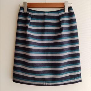 アナイ(ANAYI)のANAYI ひざ丈 スカート 黒×緑×グレー ボーダー ウール アナイ(ひざ丈スカート)