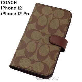 コーチ(COACH)の【COACH】コーチ SIG iPhone12/12Pro手帳型ケース カーキ(iPhoneケース)