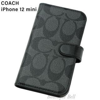 コーチ(COACH)の【COACH】コーチ SIG iPhone12mini手帳型ケース チャコール(iPhoneケース)