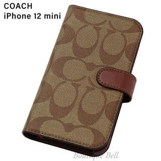 コーチ(COACH)の【COACH】コーチ SIG iPhone12mini手帳型ケース カーキ(iPhoneケース)