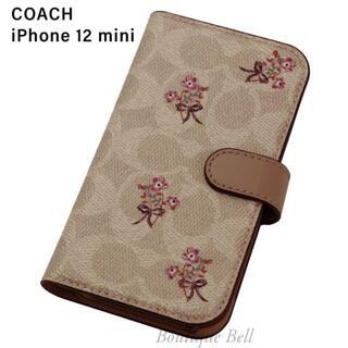 コーチ(COACH)の【COACH】コーチ SIG フラワー iPhone12mini 手帳型ケース(iPhoneケース)
