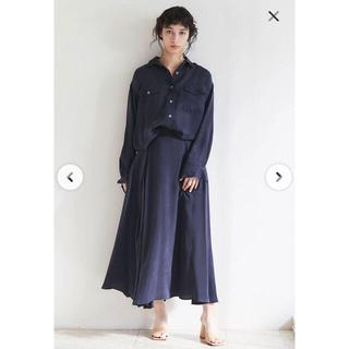 ユナイテッドアローズ(UNITED ARROWS)の美品 ガリャルダガランテ ドレープロングスカート ネイビー 36(ロングスカート)