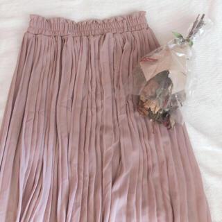 ロキエ(Lochie)の古着 くすみピンク プリーツ フレア ロングスカート(ロングスカート)