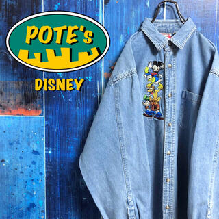 【ディズニー】ミッキーファミリーセンターキャラ刺繍デニムシャツ 90s