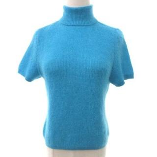 レオナール(LEONARD)のレオナール ニット カットソー タートルネック 半袖 モヘア混 ロゴ 水色 L(ニット/セーター)
