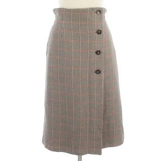 クミキョク(kumikyoku(組曲))のクミキョク 19年製 スカート ひざ丈 ラップ風 フレア 千鳥格子 グレー系 1(その他)