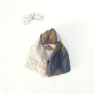 mina perhonen - ブラウンskyflowerとタンバリンのロングリボンヘアゴム☆ミナ ハンドメイド