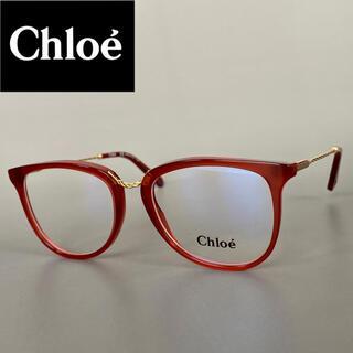Chloe - メガネ クロエ キャットアイ レッド ゴールド オシャレ 赤 金 スケルトン