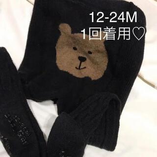 babyGAP - 美品 ベビーギャップ  くまさん タイツ 黒 12-24M