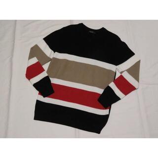 ブラックレーベルクレストブリッジ(BLACK LABEL CRESTBRIDGE)のブラックレーベル クレストブリッジ 長袖VニットセーターM 黒白べージュ赤(ニット/セーター)
