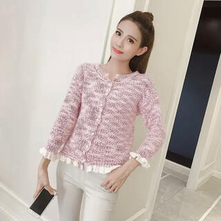 グレイル(GRL)のGRL フリルニットカーディガン ピンク ツイード トップス 韓国ファッション(カーディガン)