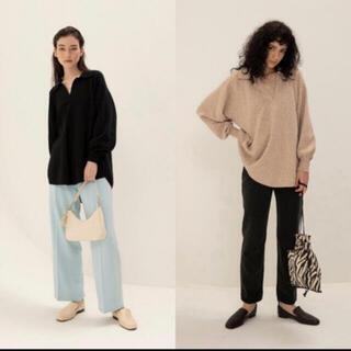 シールームリン(SeaRoomlynn)のsearoomlynn LINENコンビミディアムニットシャツ ブラック(ニット/セーター)