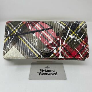 Vivienne Westwood - Vivienne Westwood 長財布 ペイント チェック かぶせ