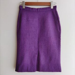 クリスチャンディオール(Christian Dior)のCHRISTIAN DIOR ひざ丈 スカート パープル ウール ディオール(ひざ丈スカート)