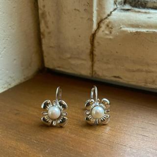 Vintage  silver flower pearl earrings