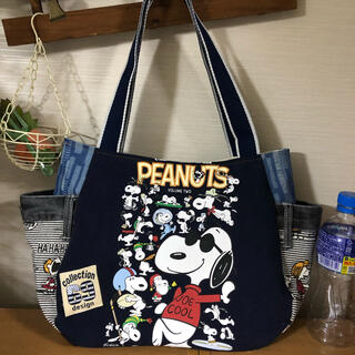 840【色々なスヌーピー】まんまるトートバッグ(M)Tシャツ&デニムリメイク、紺
