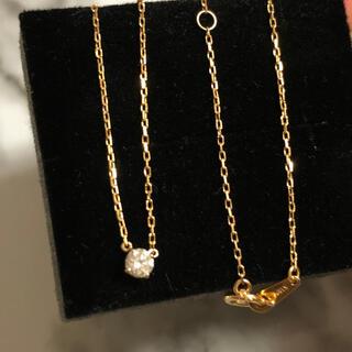 AHKAH - 新品同様 k18 ダイヤ ネックレス ✨ バイザヤード 一粒ダイヤ