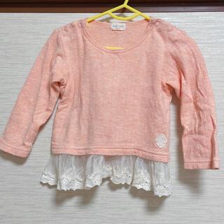 キッズズー(kid's zoo)のキッズズー Tシャツ 長袖 レース オレンジ 90cm(Tシャツ/カットソー)