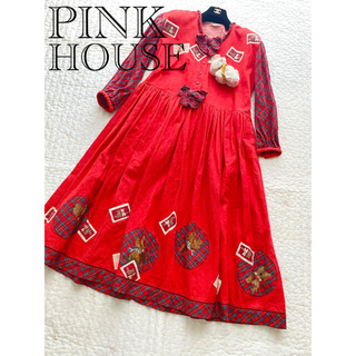 PINK HOUSE - ピンクハウス ワンピース  長袖 ヨークシャテリア いぬ 長袖 チェック