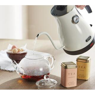 【新品】Toffy 温度計付き電気ケトル ポット コーヒー アッシュホワイト