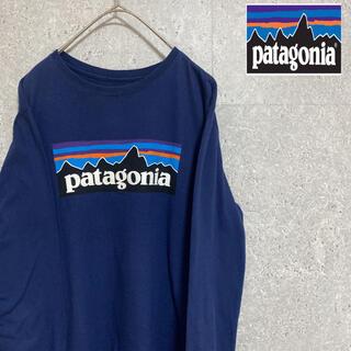 パタゴニア(patagonia)のパタゴニア プリント ロンt デカロゴ レディースXL ゆるたぼ ネイビー(Tシャツ(長袖/七分))