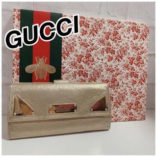 Gucci - GUCCI シマ ゴールド長財布 正規品