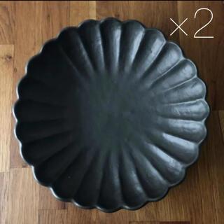 美濃焼 輪花 リンカ 菊型 大皿 盛り皿 黒 2枚