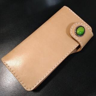限定 1点物 総手縫い 天然石 ヌメ革 ロングウォレット 手縫い ぬめ革 長財布