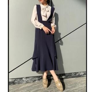 REDYAZEL - REDYAZELレディアゼル裾変形ジャンパースカート*ワンピース*ジャンスカS紺
