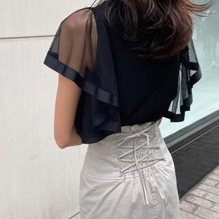 リエンダ(rienda)の袖チュールカットトップス(カットソー(半袖/袖なし))
